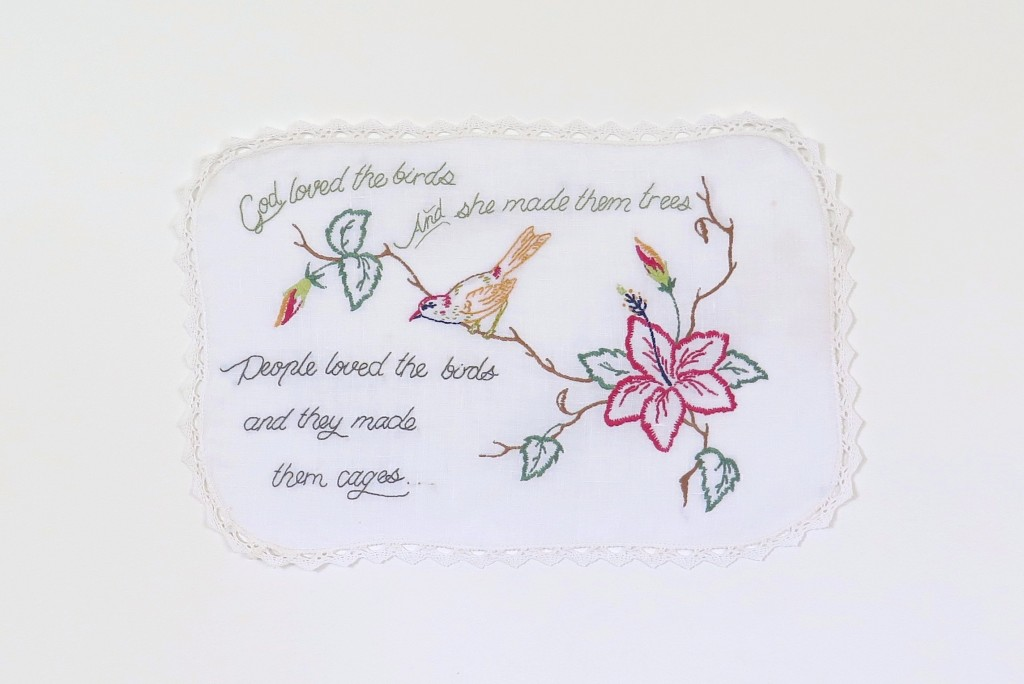She Knows, 2014, Rayna Fahey, embroidered linen.